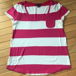 Tommy Hilfiger size S wide stripes tee pink white